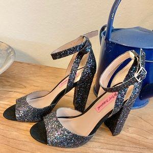 Betsy Johnson | Black Sequin/Glitter Strap heel